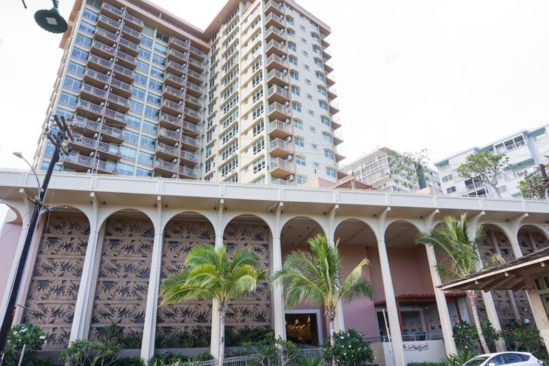 View of Queen Kapiolani Hotel from the outside in Honolulu, Hawaii