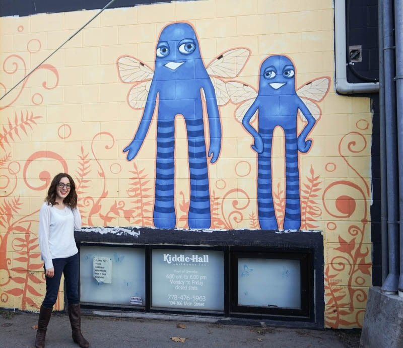 Mural with fun blue characters in Penticton, B.C.