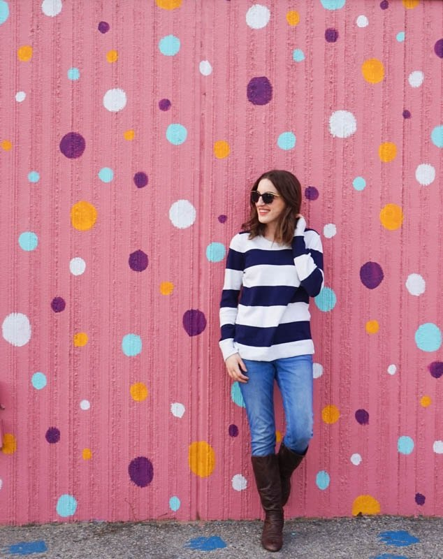 Pink polka-dotted mural in Penticton, British Columbia: Penticton's Most Instagram-Worthy Murals