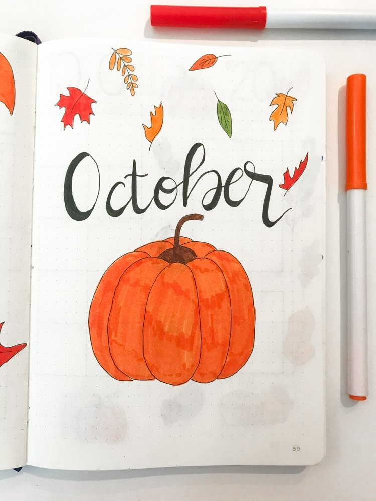 October bullet journal page with pumpkin
