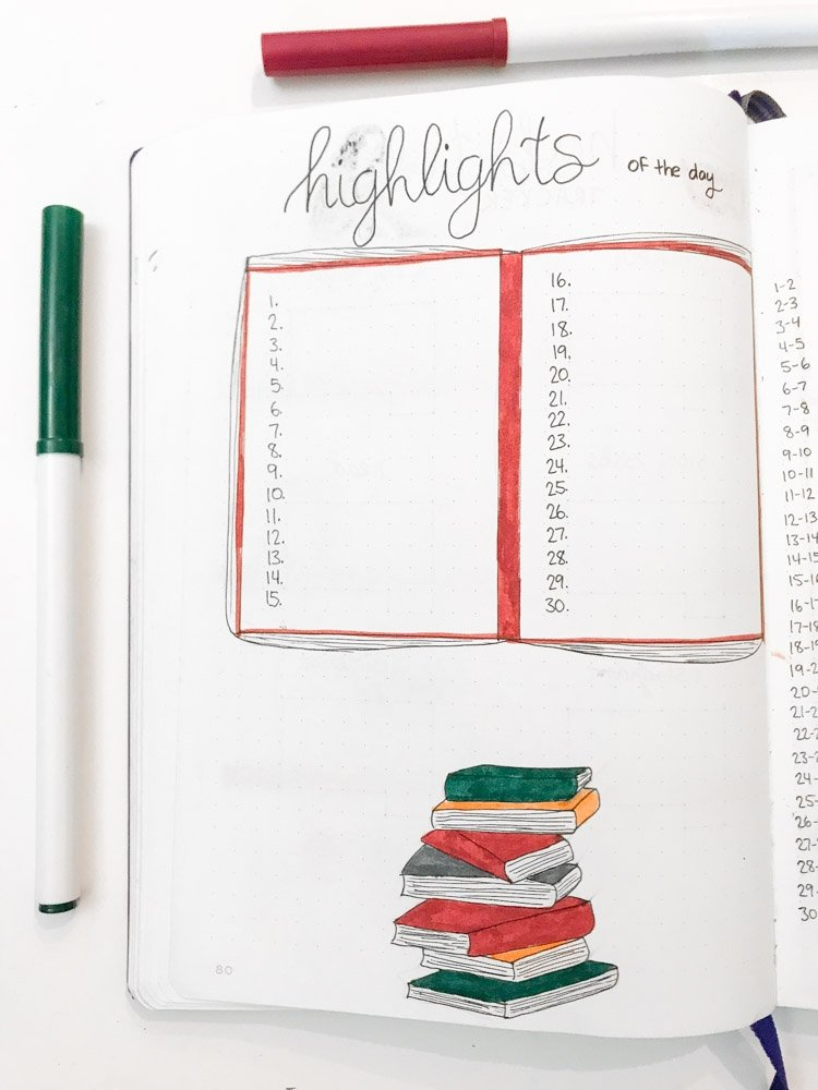 november bullet journal highlights of the day page