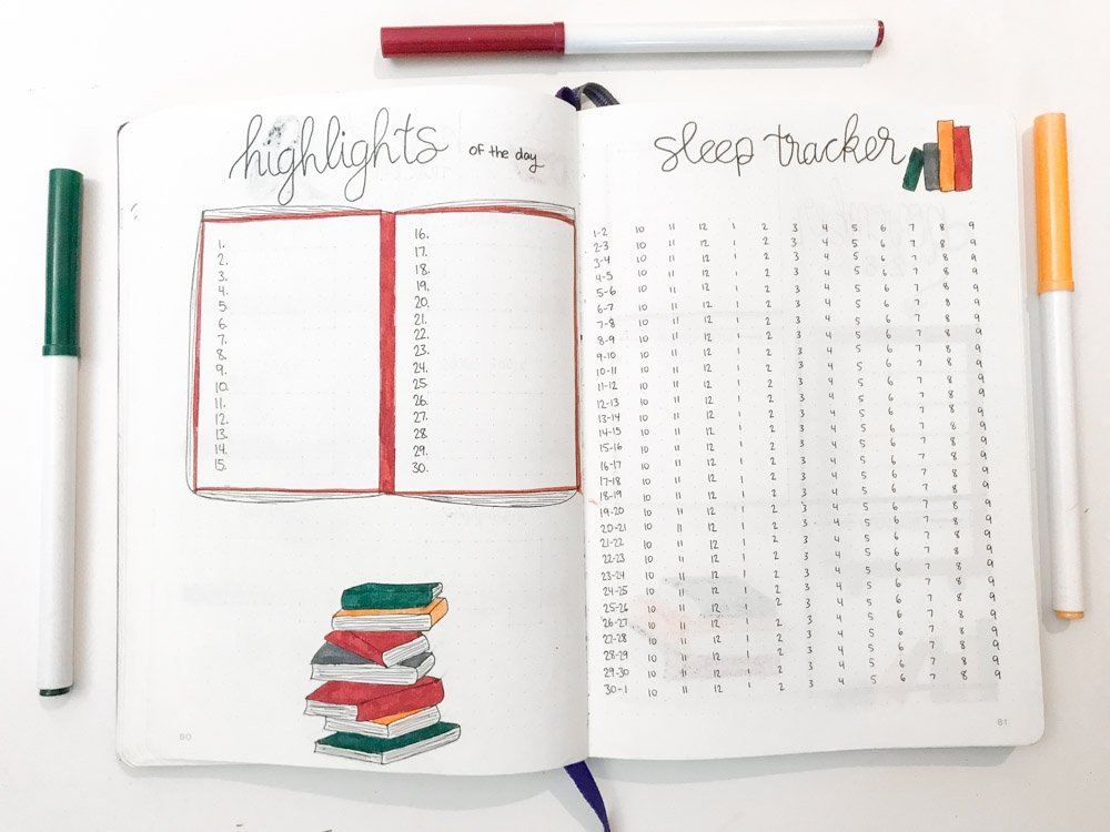 bullet journal highlights of the day and sleep tracker