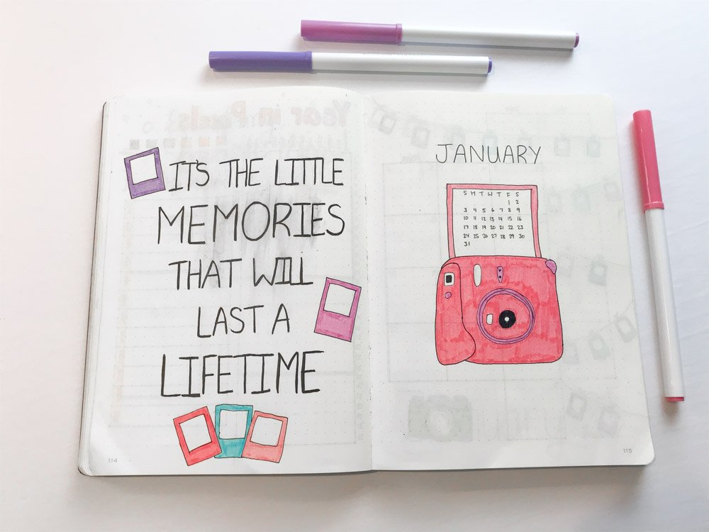 january bullet journal cover page spread with polaroid pictures