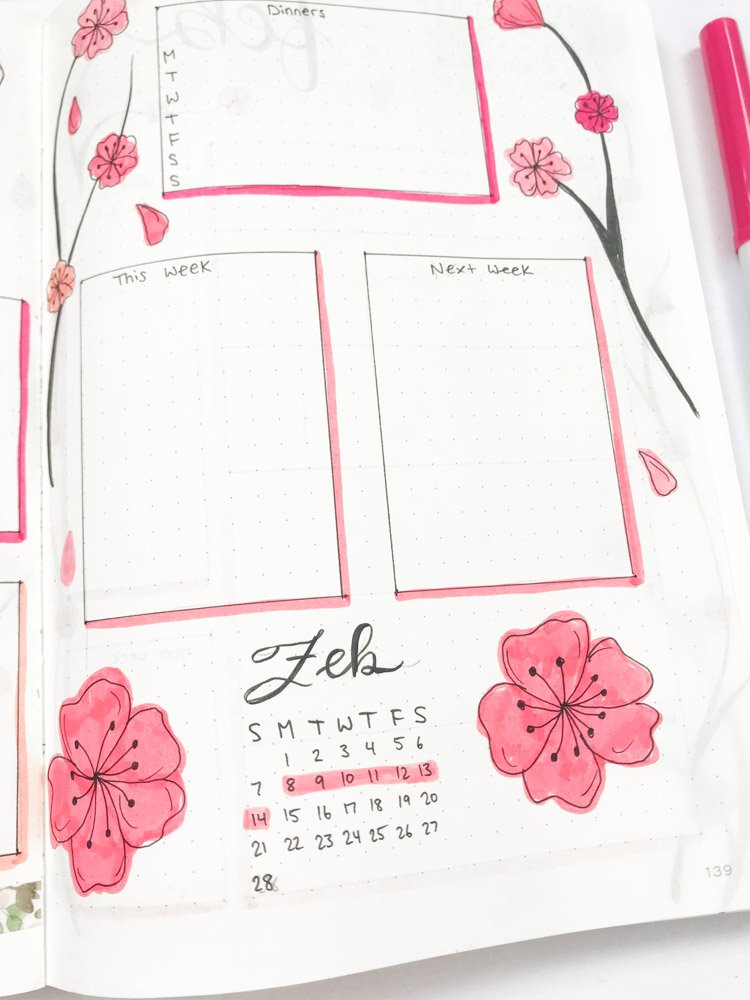 february bullet journal weekly layout
