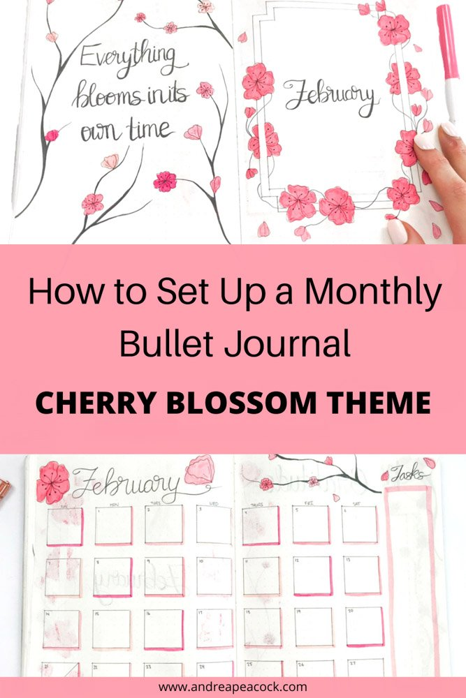 how to set up a bullet journal with a cherry blossom theme
