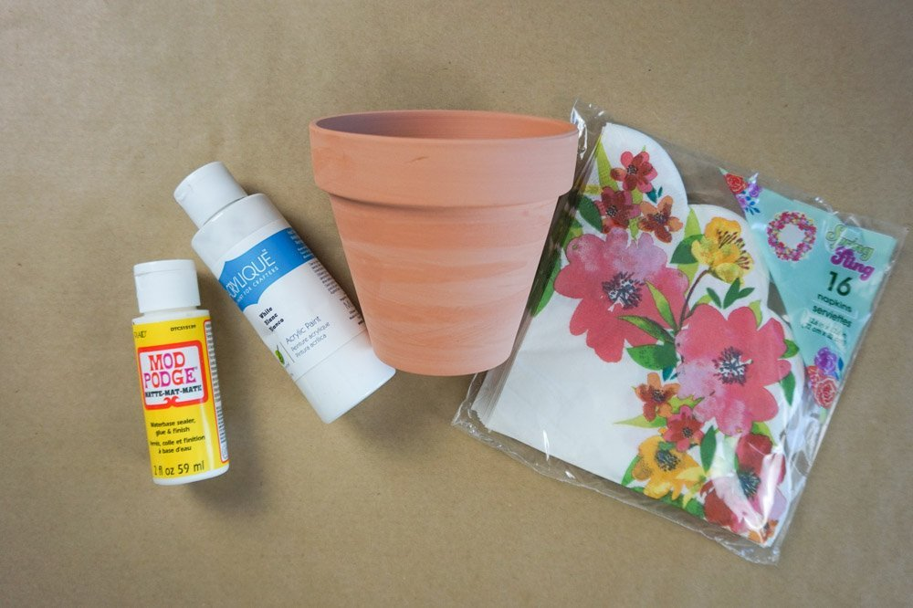 floral terracotta pot diy