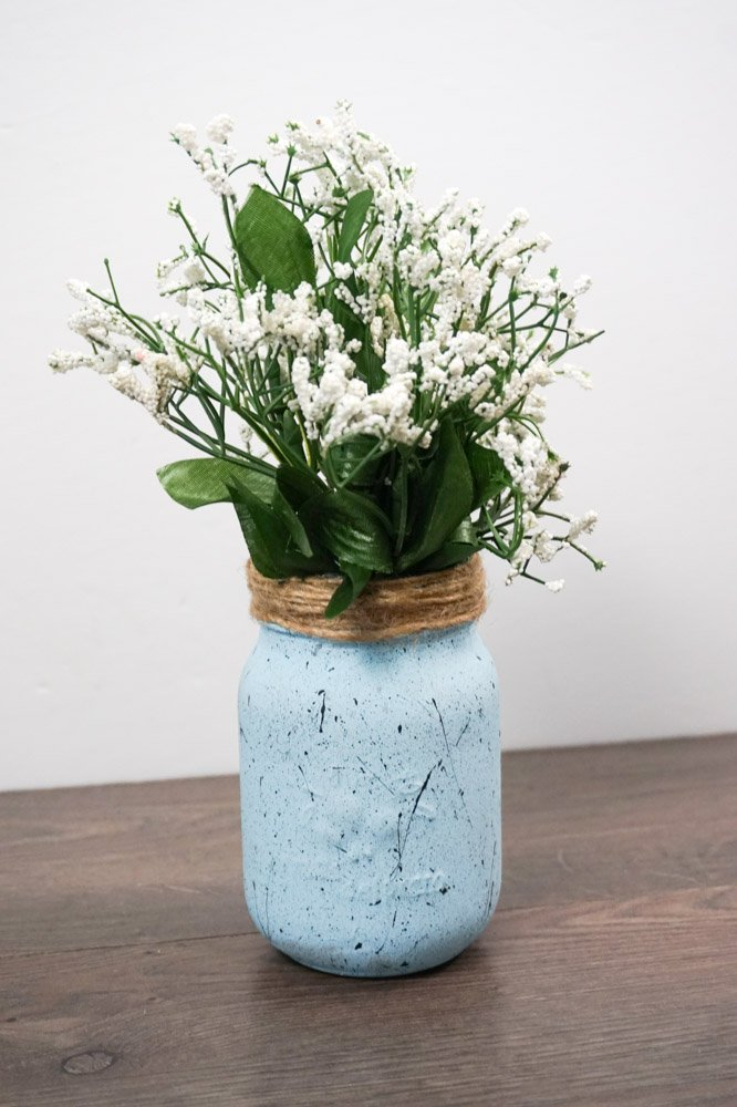 blue speckled mason jar vase