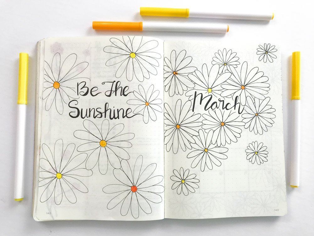 Daisy Themed Bullet Journal quote page (be the sunshine) and cover page
