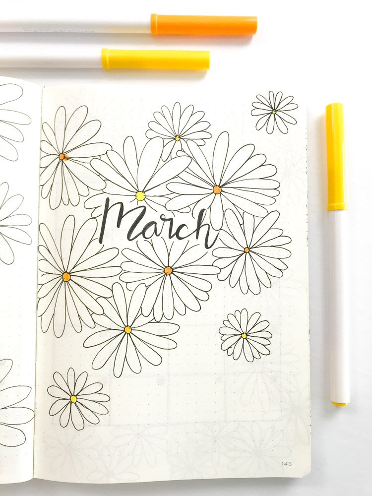 Daisy Theme Bullet Journal March cover page