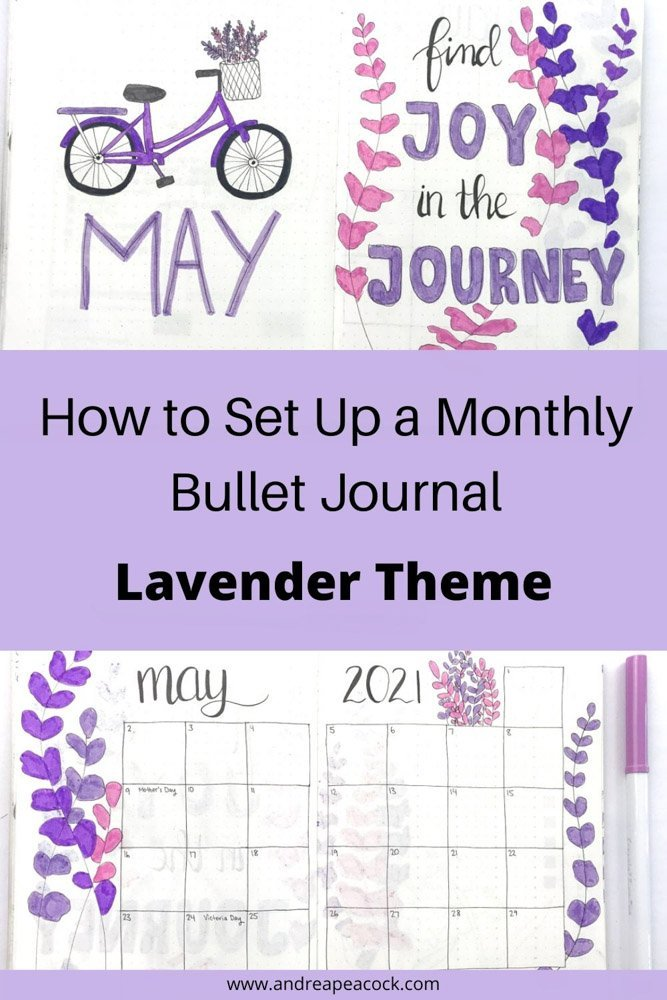 how to set up a monthly bullet journal with a lavender theme