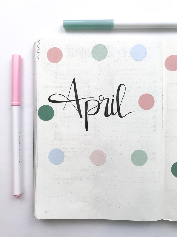 minimal april bullet journal cover page