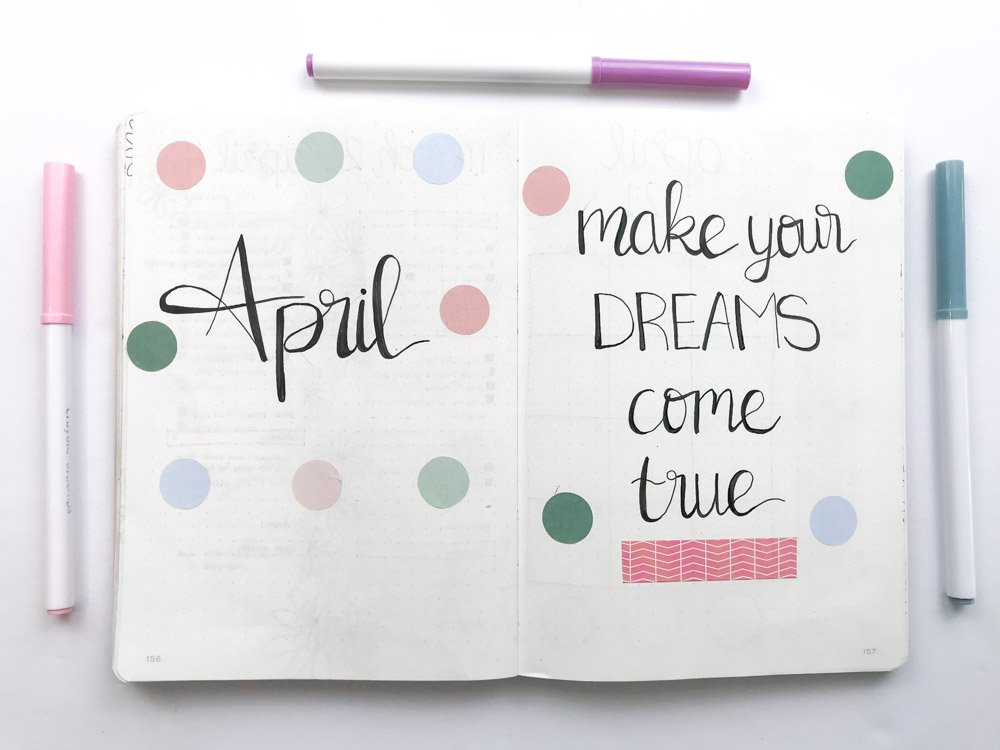 april bullet journal spread: make your dreams come true quote page