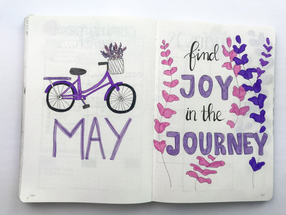 lavender theme bullet journal spread