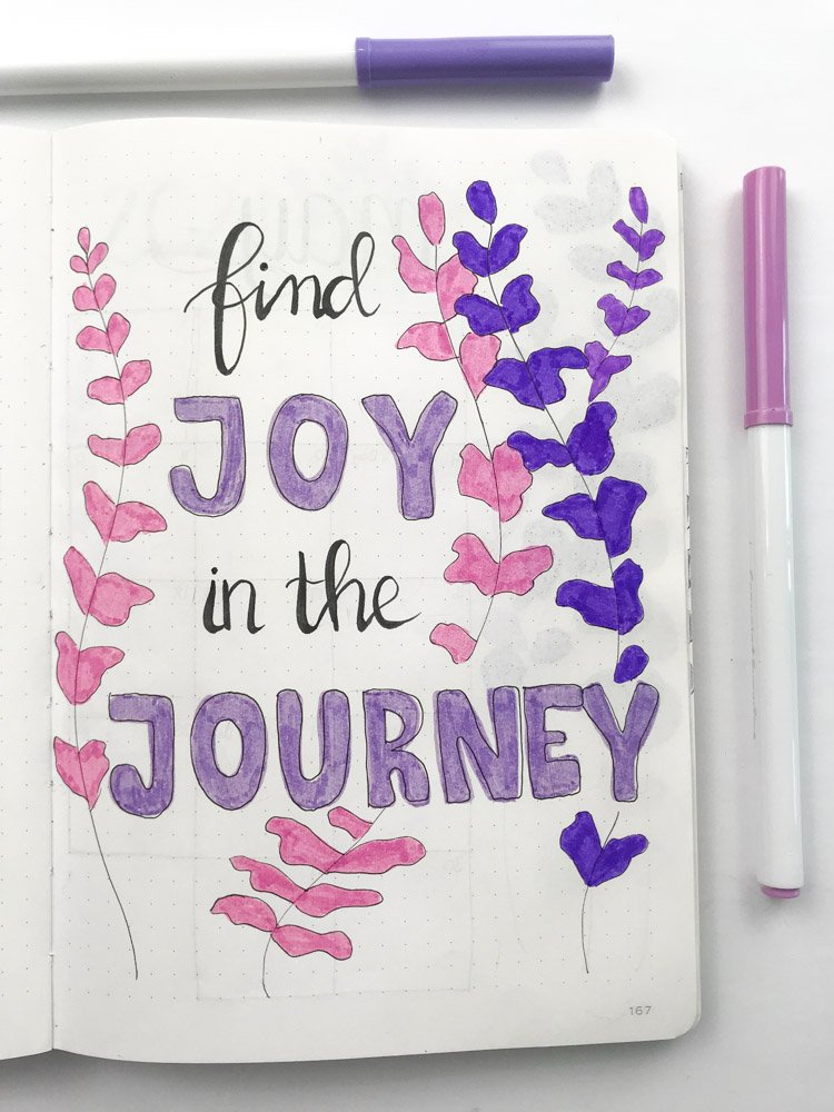 bullet journal quote page: find joy in the journey