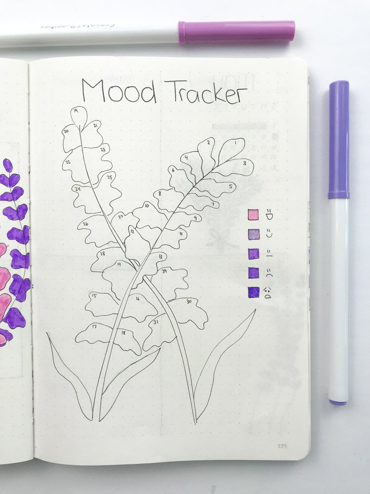 bullet journal mood tracker with lavender theme