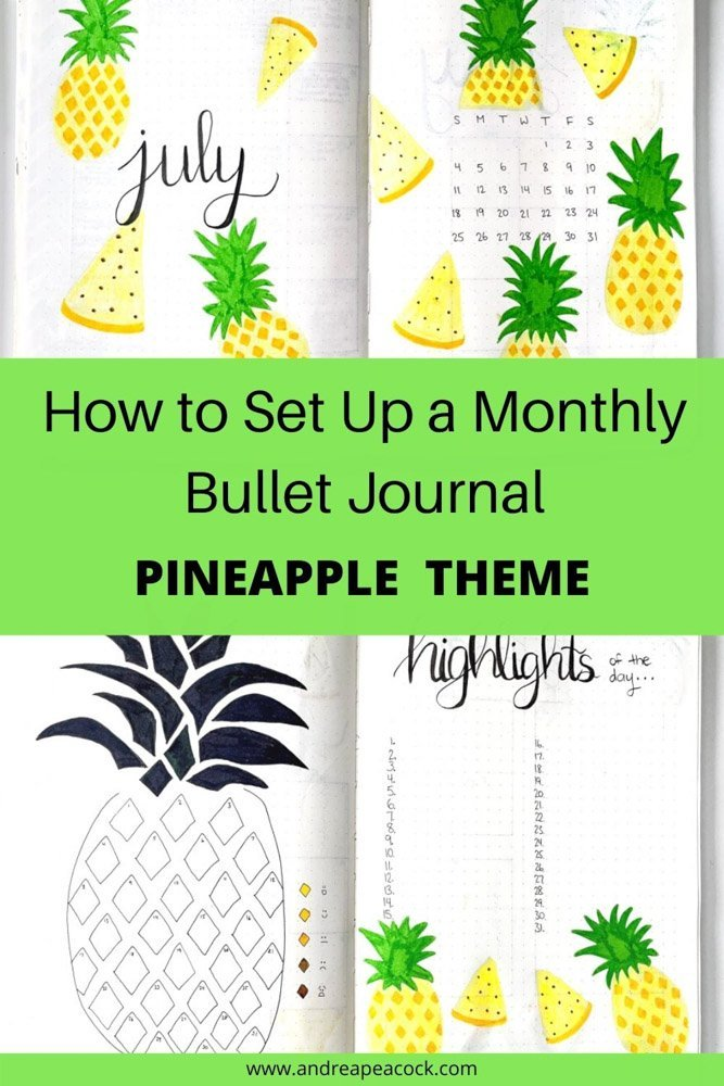 how to set up a monthly bullet journal with a pineapple theme