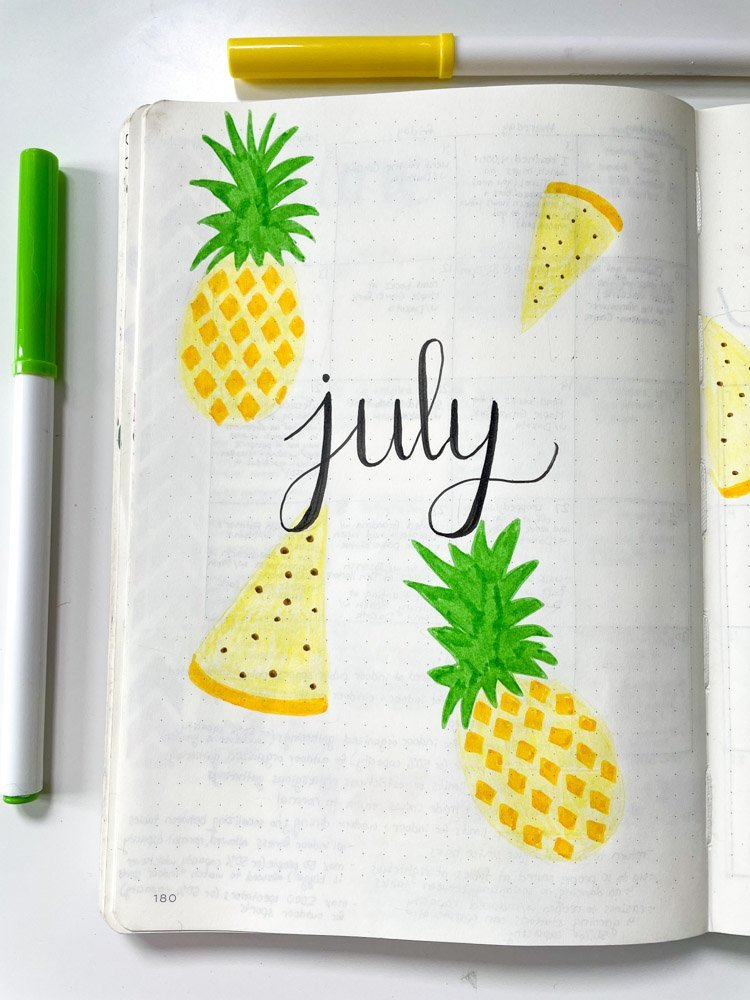 pineapple theme bullet journal cover page