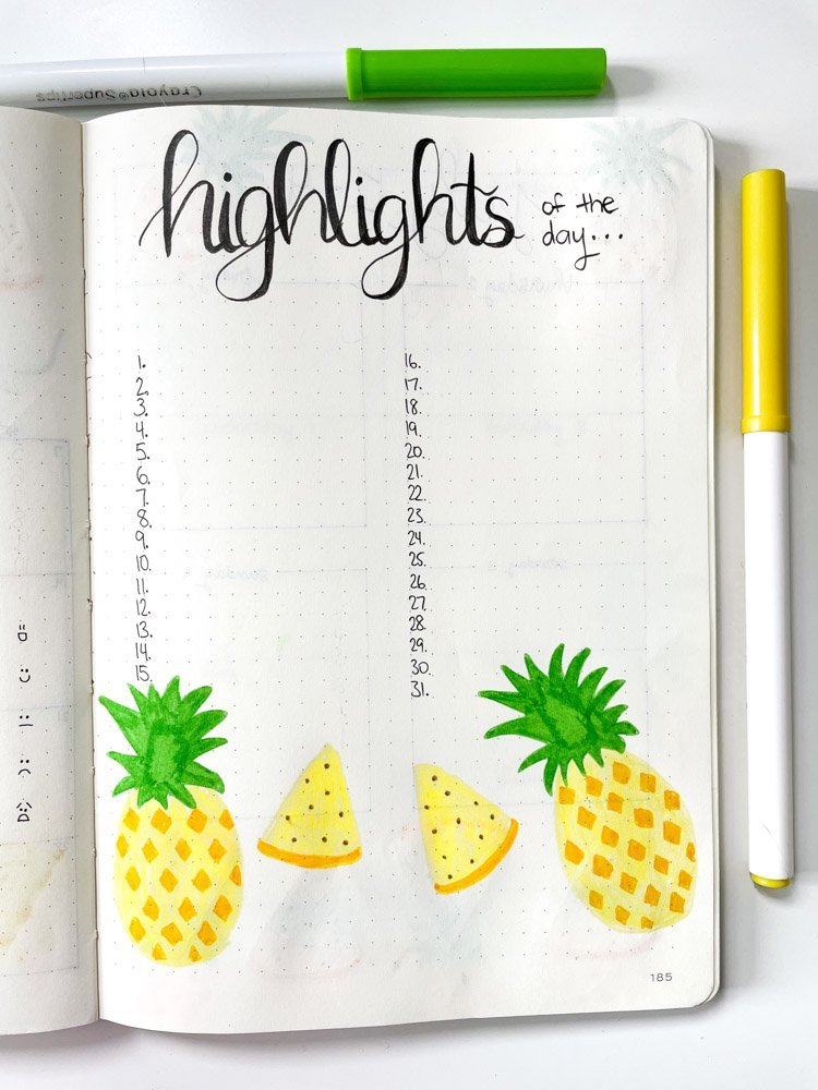 bullet journal highlights of the day page with pineapples