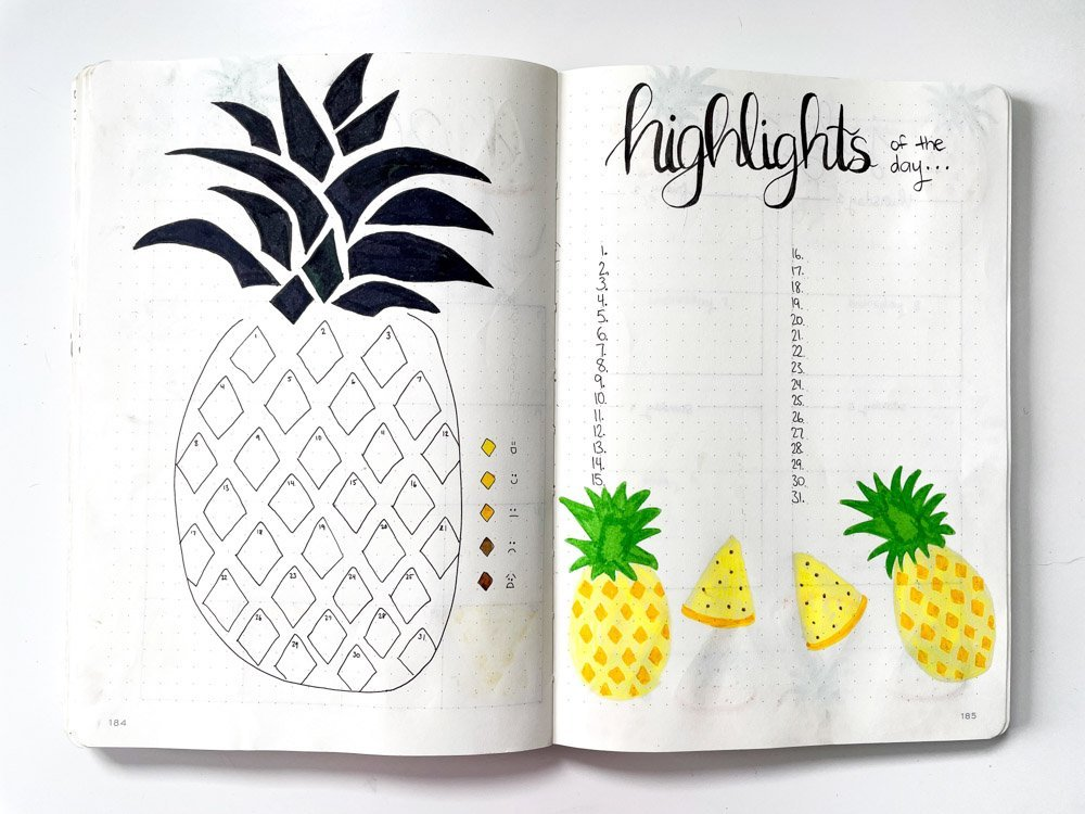 bullet journal pineapple mood tracker and highlights of the day spread